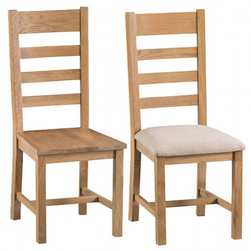 Pair of Cornish Oak Ladder Back Dining Chairs